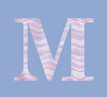 Initial M Rose Quartz And Serenity Pink Blue Wavy Lines by theartofvikki