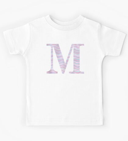 Initial M Rose Quartz And Serenity Pink Blue Wavy Lines Kids Tee