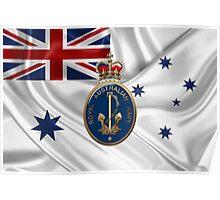 Royal Australian Navy Badge over RAN Ensign Poster