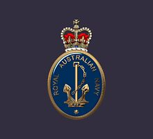 Royal Australian Navy - RAN Badge over Blue Velvet Unisex T-Shirt