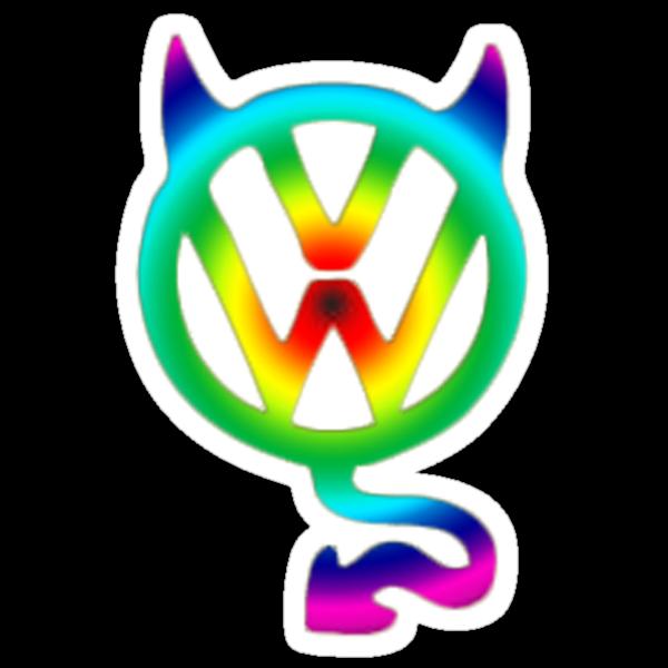 VW devil tail logo tie dye by Tony  Bazidlo