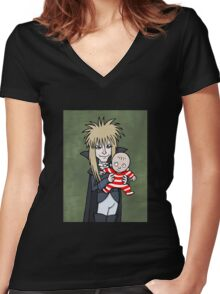 The Goblin King with Toby cartoon Women's Fitted V-Neck T-Shirt