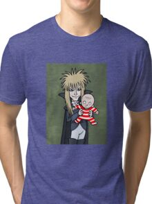 The Goblin King with Toby cartoon Tri-blend T-Shirt