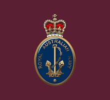 Royal Australian Navy - RAN Badge over Red Velvet Unisex T-Shirt