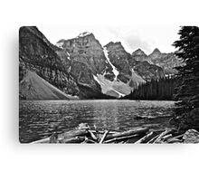 Moraine Lake in Black and White Canvas Print