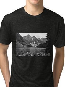 Moraine Lake in Black and White Tri-blend T-Shirt