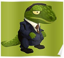 Funny Lizard in a Business Suit Poster