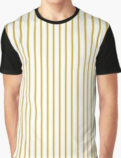 Primrose Yellow Pinstripe on White Graphic T-Shirt