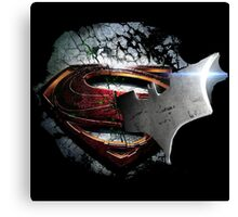 cape crusader logo Vs man of steel logo Canvas Print