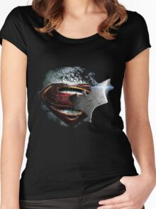 cape crusader logo Vs man of steel logo Women's Fitted Scoop T-Shirt