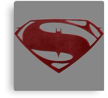 cape crusader logo Vs man of steel logo 2 Canvas Print