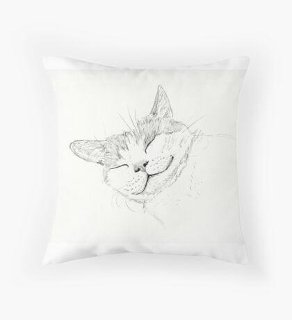 Sleeping Cat sketch Throw Pillow