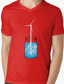 Natural energy wind turbine plant Mens V-Neck T-Shirt