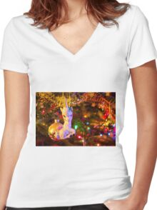 Christmas Magic Women's Fitted V-Neck T-Shirt