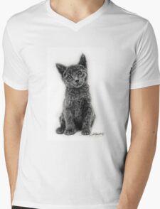 Grey Kitten Mens V-Neck T-Shirt