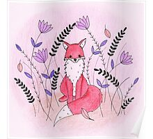 Beautiful Fox in the Garden Poster