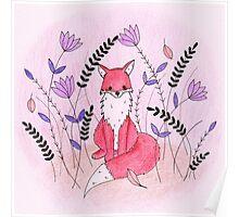 Beautiful Fox in the Garden Poster