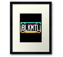 SHINY BLUE/GOLD LICENSE PLATE HOLDER WITH BLACK PLATE - HVYMTL Framed Print