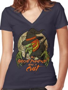 Cult of the Great Pumpkin: Witch Mask Women's Fitted V-Neck T-Shirt