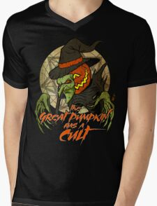 Cult of the Great Pumpkin: Witch Mask Mens V-Neck T-Shirt