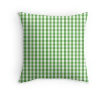 Spring Leaf Green Mini Gingham Check Plaid Throw Pillow