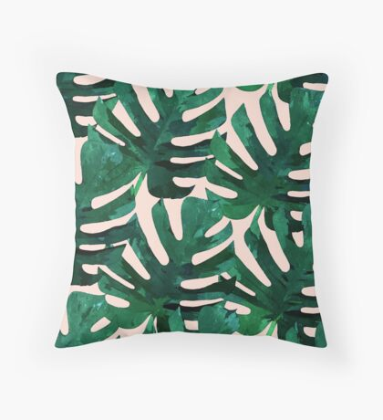 Monstera Pattern #Redbubble #decor #lifestyle Throw Pillow