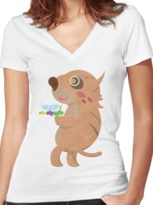 Rodent Thing with a Squirt Gun Women's Fitted V-Neck T-Shirt