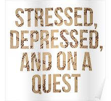 Stressed, Depressed, and On a Quest Poster