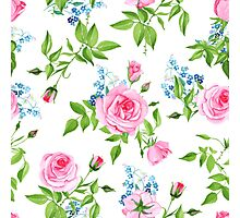 Forget-me-nots and pink roses seamless vector print Photographic Print