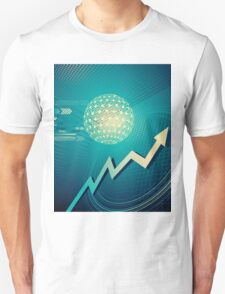 green arrow motion with Business background T-Shirt