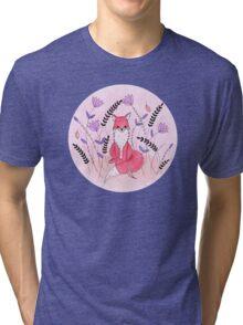 Beautiful Fox in the Garden Tri-blend T-Shirt