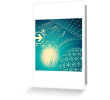 green arrow motion with Business background Greeting Card