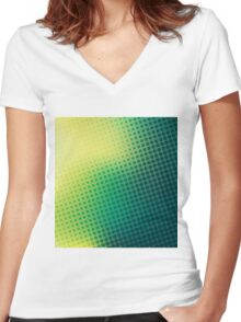 abstract colorful halftone design Women's Fitted V-Neck T-Shirt