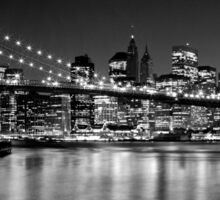Night Skyline MANHATTAN Brooklyn Bridge black&white Sticker
