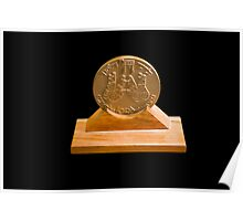 Israeli Priestly Blessing bronze Medal on black background Poster