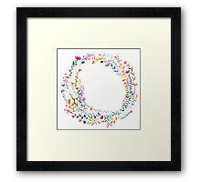 Watercolor Rainbow Flower Wreath Framed Print