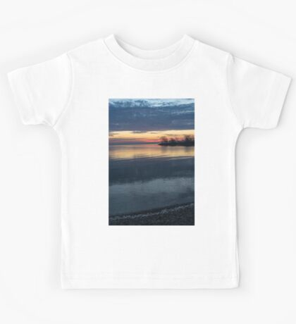 Stripes and Layers - Sunrise on the Lake Shore Kids Tee