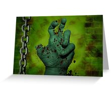 Scary Green Zombie Hand Greeting Card