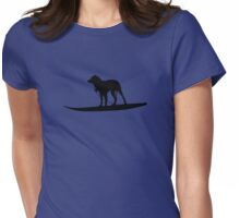 Surfing Dog Womens Fitted T-Shirt