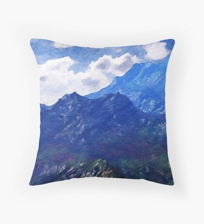 Mountains Into A Blue Sky Throw Pillow