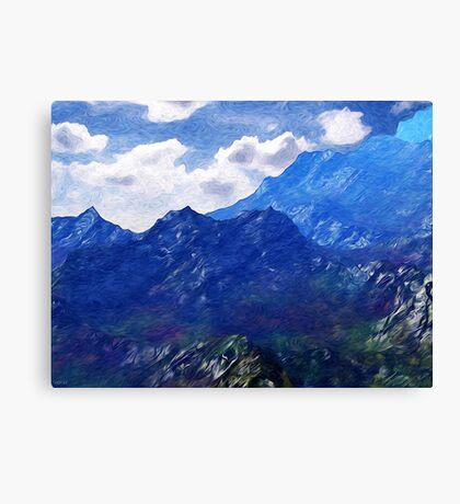 Mountains Into A Blue Sky Canvas Print