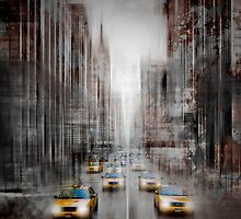 City-Art NYC 5th Avenue Yellow Cabs by Melanie Viola