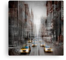 City-Art NYC 5th Avenue Yellow Cabs Canvas Print