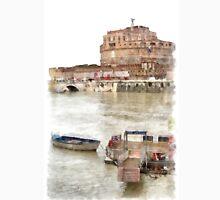 Rome: Tiber River barge and Saint Angel castle Unisex T-Shirt