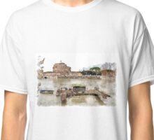 Rome: Tiber River barge and Saint Angel castle Classic T-Shirt