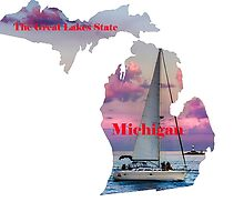 Michigan Map with State Nickname:  The Great Lakes State by Havocgirl