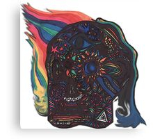 Skull with Snake and Flames Canvas Print
