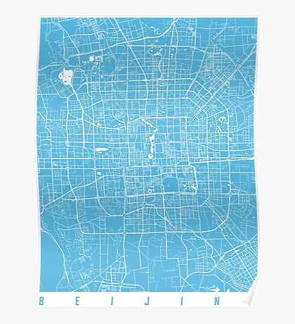 Beijing map blue Poster