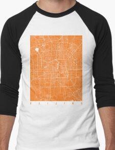Beijing map orange Men's Baseball ¾ T-Shirt