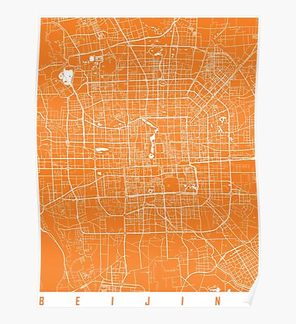 Beijing map orange Poster
